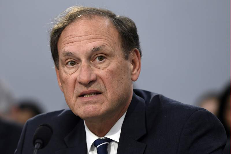 FILE - In this March 7, 2019, file photo, Supreme Court Justice Samuel Alito testifies before the House Appropriations Committee on Capitol Hill in Washington. (AP Photo/Susan Walsh, File)