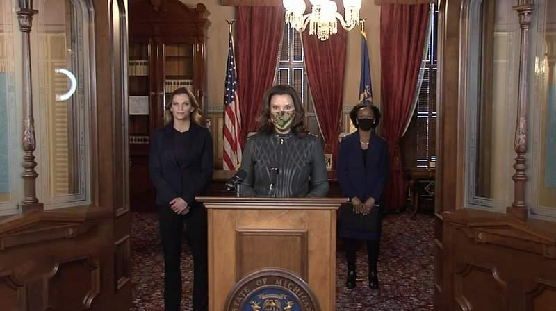 Michigan Gov. Gretchen Whitmer speaks at a coronavirus news conference Dec. 1, 2020.