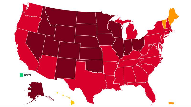 """A screenshot of Covid Act Now's map of the U.S. with states color-coded according to their """"Covid Risk Level."""" Michigan is labeled as experiencing an """"active or imminent"""" COVID outbreak, according to data from Covid Act Now. Most of the country is at """"severe risk"""" for a COVID-19 outbreak (maroon), or """"critical risk"""" (red). Photo courtesy of Covid Act Now's website. -- Nov. 28, 2020. (Covid Act Now)"""