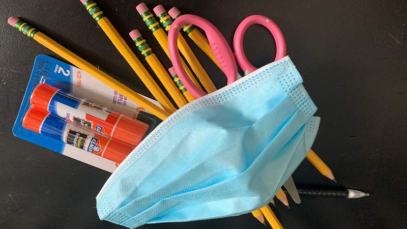 COVID-19 face mask and school supplies.