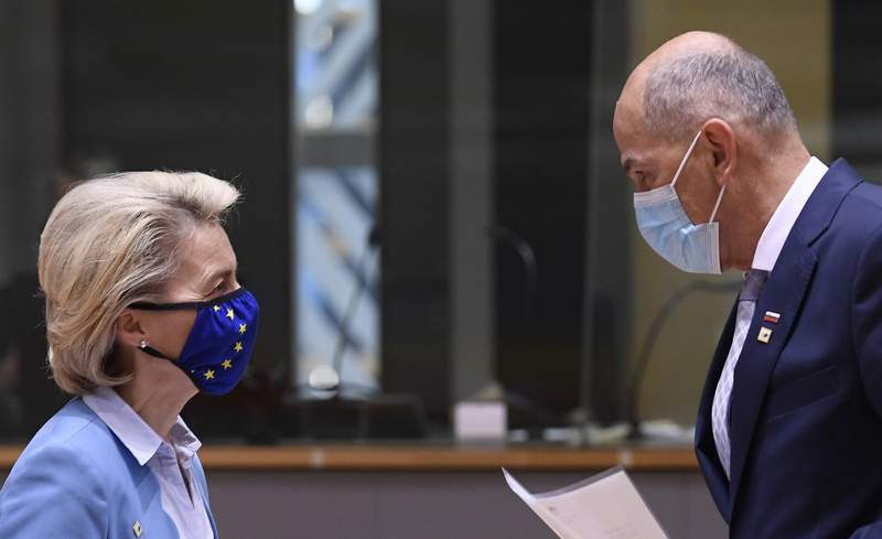In this May 25, 2021 file photo, European Commission President Ursula von der Leyen, left, speaks with Slovenia's Prime Minister Janez Jansa in Brussels. Slovenia takes over the European Union presidency with its Prime Minister in the focus because of his squabbles with Brussels, alliance with populist Hungarian leader Viktor Orban and increasingly autocratic policies. All of these are casting doubt on the small countrys credibility to lead the 27-nation bloc. Although the rotating 6-month EU Council presidency, which Slovenia assumes from Portugal on Thursday, is mostly bureaucratic and to an extent symbolic, it comes amid the blocs painful post-COVID-19 recovery, the stalled EU enlargement process and concerns that the leadership role could be used by the government to further obstruct media freedoms in Slovenia and elsewhere in Europe. (John Thys, Pool via AP)