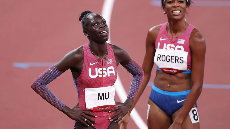 TOKYO, JAPAN - AUGUST 03:  Gold medalist Athing Mu of Team United States and bronze medalist Raevyn Rogers of Team United States celebrate after the Women's 800m Final on day eleven of the Tokyo 2020 Olympic Games at Olympic Stadium on August 03, 2021 in Tokyo, Japan. (Photo by Christian Petersen/Getty Images)