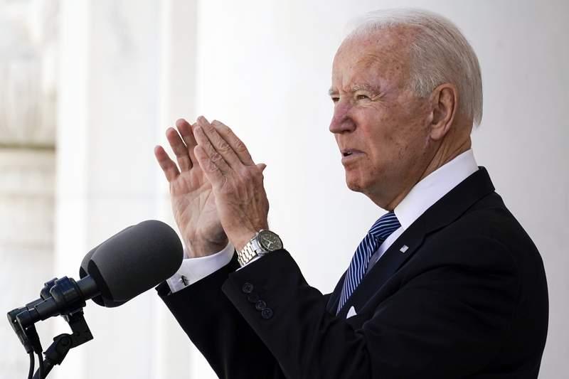 President Joe Biden speaks at Arlington National Cemetery on Memorial Day, Monday, May 31, 2021, in Arlington, Va. (AP Photo/Alex Brandon)