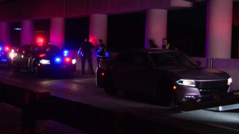 A Dodge Charger that ran out of gas in Southfield while fleeing police on July 15, 2021.