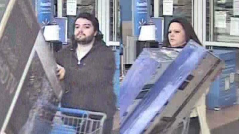 Canton police say this man and woman shoplifted from Walmart on April 9, 2020.