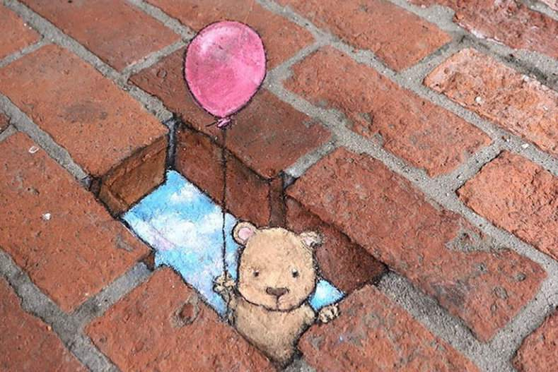 One of David Zinn's drawings outside The Cupcake Station in downtown Ann Arbor.