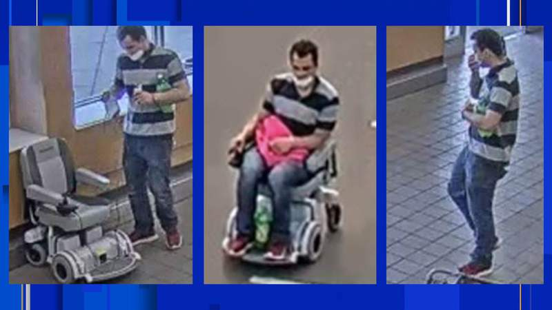 A man suspected of stealing a motorized scooter in Roseville on April 9, 2021.