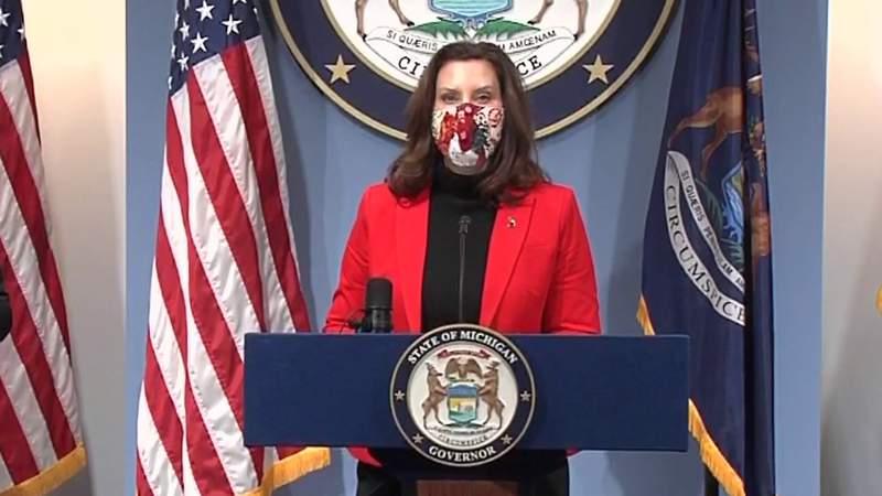 Michigan Gov. Gretchen Whitmer at a Feb. 17, 2021, COVID-19 briefing.