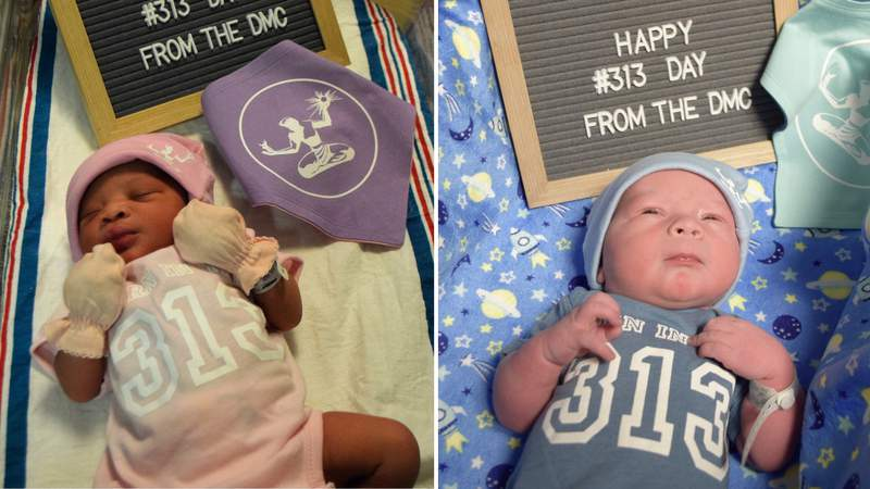 Several babies were born at the DMC Hutzel Women's Hospital on March 13, 2021 -- otherwise known as 313 Day. The babies were dressed accordingly in Detroit-themed apparel. Photos provided by the Detroit Medical Center.