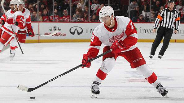 NEWARK, NEW JERSEY - NOVEMBER 17: Nick Jensen #3 of the Detroit Red Wings skates against the New Jersey Devils at Prudential Center on November 17, 2018 in Newark, New Jersey. The Red Wings defeated the Devils 3-2 in overtime. (Photo by Bruce Bennett/Getty Images)