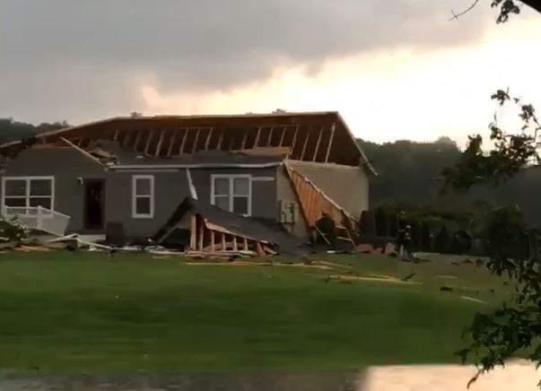 Tornado damage July 25, 2021 in Armada, Mich.