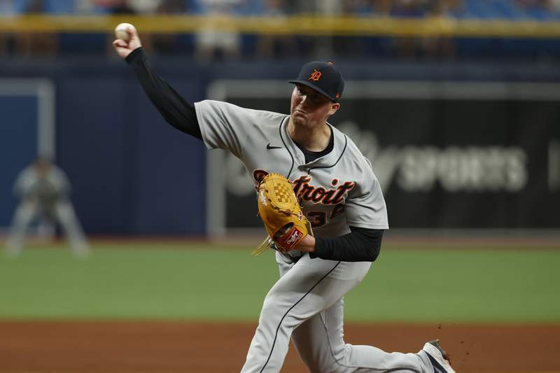 Detroit Tigers relief pitcher Kyle Funkhouser works from the mound against the Tampa Bay Rays during the ninth inning of a baseball game Sunday, Sept. 19, 2021 in St. Petersburg, Fla.