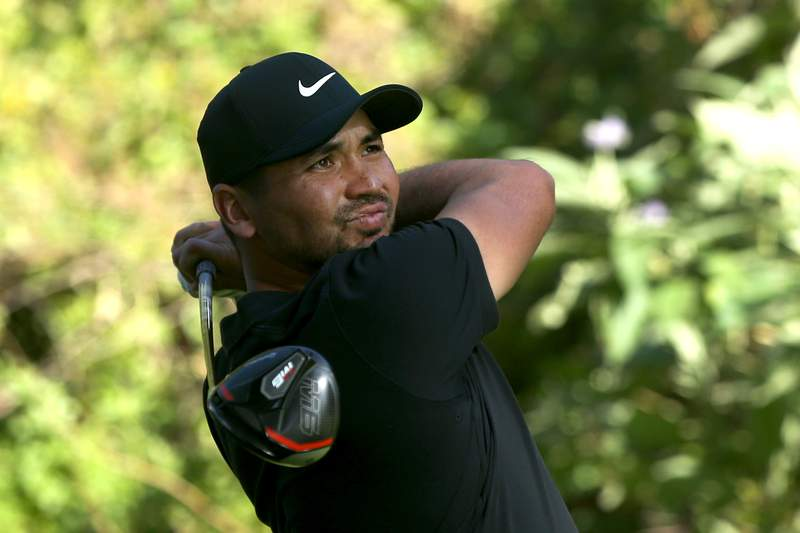 Jason Day of Australia tees off at the 12th hole during round two of the Genesis Invitational at the Riviera Country Club on February 14, 2020 in Pacific Palisades, California. (Photo by Katharine Lotze/Getty Images)