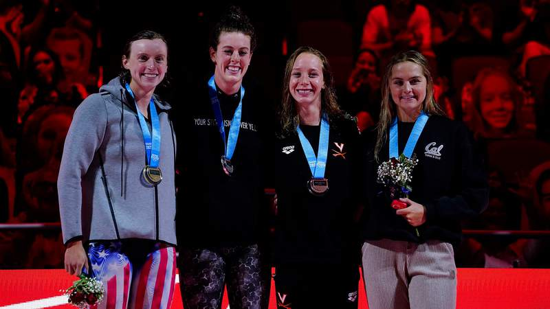 Allison Schmitt (second from left), 31, is at a minimum headed to her fourth Olympics as a potential relay team member.