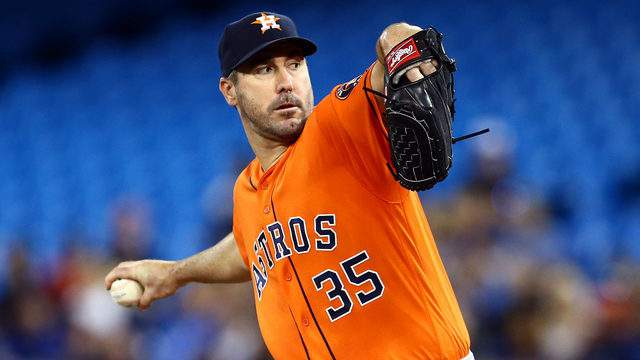 Justin Verlander #35 of the Houston Astros delivers a pitch in the first inning during a MLB game against the Toronto Blue Jays. Verlander went on to throw his third career no-hitter. (Photo by Vaughn Ridley/Getty Images)
