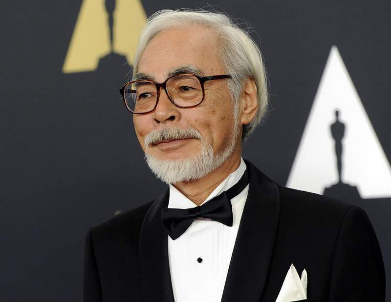 """FILE - Hayao Miyazaki arrives at the 6th annual Governors Awards in Los Angeles on Nov. 8, 2014. The Academy of Motion Pictures announced a temporary exhibition """"Hayao Miyazaki"""" with over 300 objects exploring each of Miyazaki's animated films. The exhibition will open on April 30, 2021. (Photo by Chris Pizzello/Invision/AP, File)"""