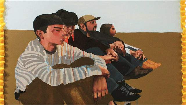 """""""Illegal Entry"""" by Ruth Leonela Buentello (acrylic on canvas) will be featured in """"Yo Tengo Nombre"""" [I Have a Name], an exhibition presented by the University of Michigan Institute for the Humanities Sept. 19–Oct. 31."""