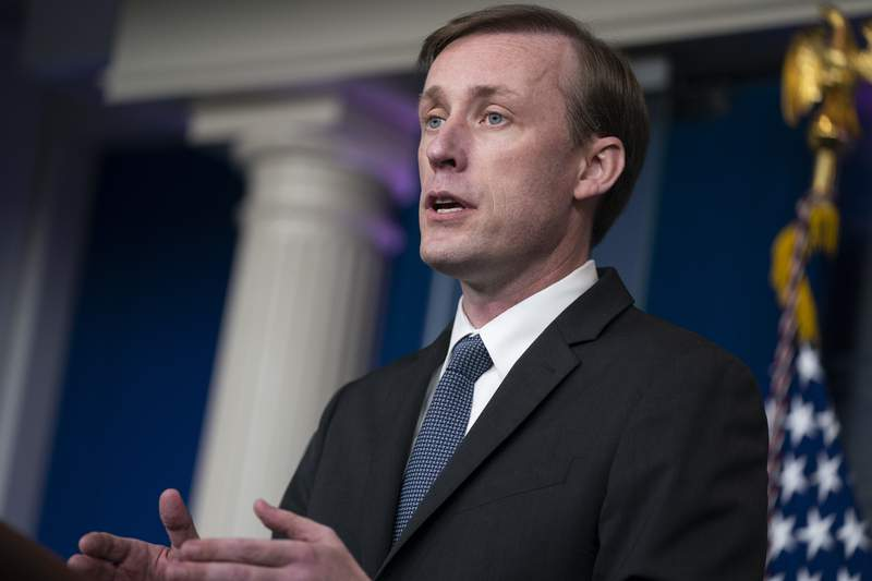 FILE -  White House national security adviser Jake Sullivan speaks during a press briefing at the White House, Monday, June 7, 2021, in Washington. Sullivan is traveling to Saudi Arabia on Monday, Sept. 27, 2021, to meet with Crown Prince Mohamed bin Salman as the U.S. tries to press the kingdom to move toward a ceasefire in its years-long war with Houthi rebels in Yemen. (AP Photo/Evan Vucci, File)
