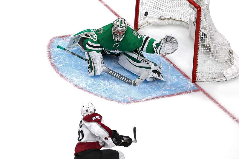 EDMONTON, ALBERTA - SEPTEMBER 02:  Mikko Rantanen #96 of the Colorado Avalanche scores a goal past Anton Khudobin #35 of the Dallas Stars during the third period in Game Six of the Western Conference Second Round during the 2020 NHL Stanley Cup Playoffs at Rogers Place on September 02, 2020 in Edmonton, Alberta, Canada. (Photo by Bruce Bennett/Getty Images)
