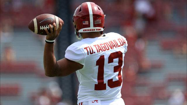 Tua Tagovailoa #13 of the Alabama Crimson Tide warms up before their game against the South Carolina Gamecocks at Williams-Brice Stadium on September 14, 2019 in Columbia, South Carolina. (Photo by Streeter Lecka/Getty Images)