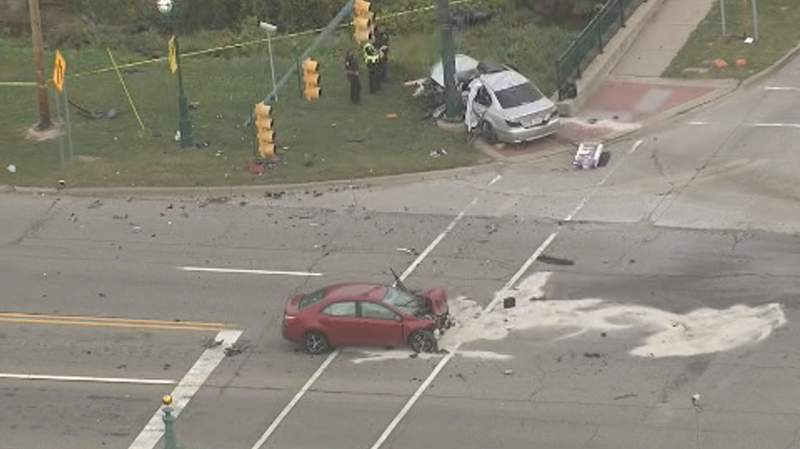 The scene of a Sept. 13, 2021, crash at Ford and Canton Center roads in Canton Township.