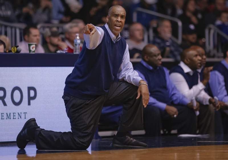 Head coach Mike Davis of the Detroit Mercy Titans is seen during the game against the Butler Bulldogs at Hinkle Fieldhouse on November 12, 2018 in Indianapolis, Indiana.