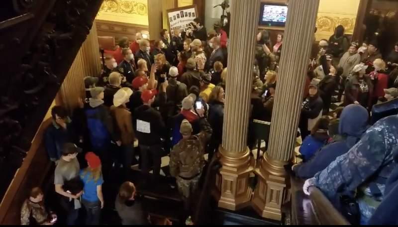 Michigan Capitol protest on April 30, 2020.