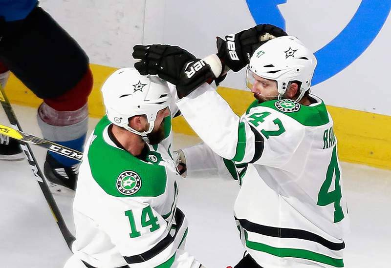 EDMONTON, ALBERTA - AUGUST 22: Alexander Radulov #47 of the Dallas Stars (R) celebrates his goal at 16:28 of the first period against the Colorado Avalanche and is joined by Jamie Benn #14 (L) in Game One of the Western Conference Second Round during the 2020 NHL Stanley Cup Playoffs at Rogers Place on August 22, 2020 in Edmonton, Alberta, Canada. (Photo by Jeff Vinnick/Getty Images)