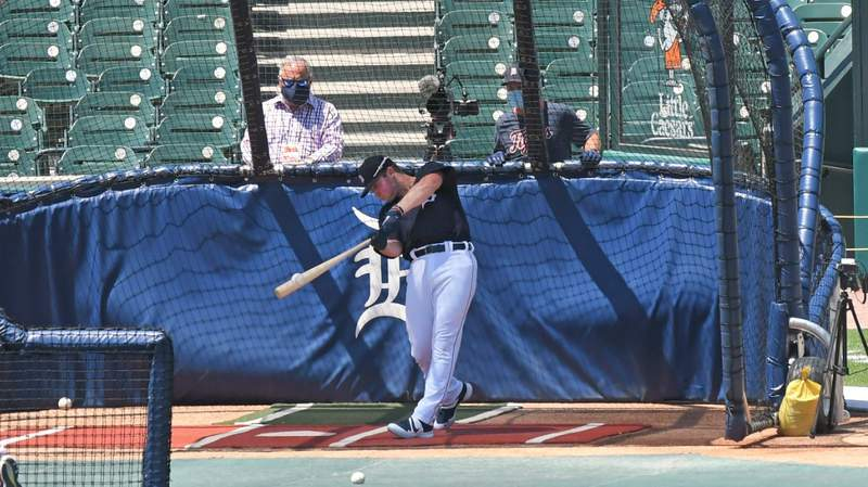 Major League Baseballs number one draft pick Spencer Torkelson #73 of the Detroit Tigers takes batting practice during the Detroit Tigers Summer Workouts at Comerica Park on July 4, 2020 in Detroit, Michigan.