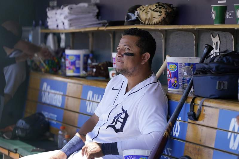 Detroit Tigers designated hitter Miguel Cabrera sits in the dugout during the seventh inning of a baseball game against the Cleveland Indians, Sunday, Aug. 15, 2021, in Detroit.