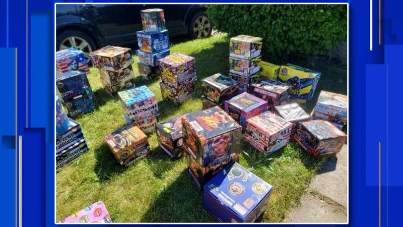 About 400 pounds of fireworks were seized from a house on Detroit's east side on May 30, 2021.