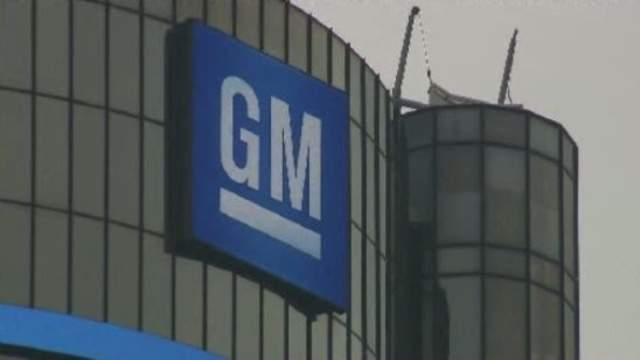 GM sign on the Renaissance Center in Detroit, the company's world headquarters. (WDIV)