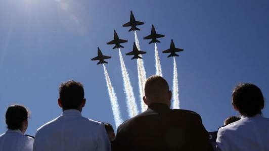 The Navy's Blue Angels fly over in Annapolis, Maryland.