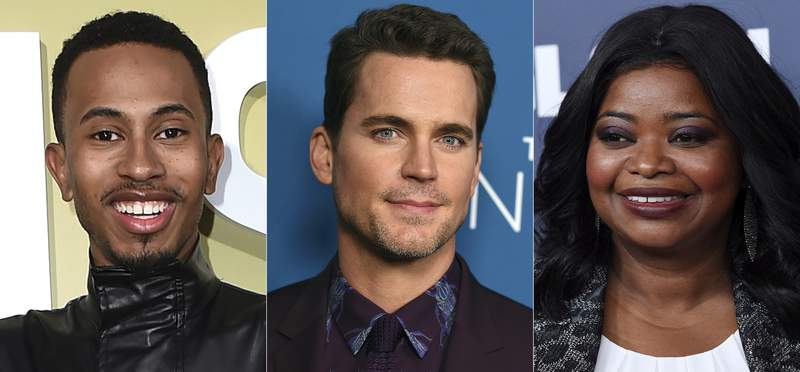 """Kalen Allen arrives at the Los Angeles premiere of """"The Hustle"""" on May 8, 2019, from left, Matt Bomer arrives at the Los Angeles premiere of """"The Sinner"""" Season 3 on Feb. 3, 2020 and Octavia Spencer appears at the 2019 GLSEN Respect Awards in Beverly Hills, Calif., on Oct. 25, 2019. Allen, Bomer and Spencer are among the celebrities helping the Gay, Lesbian and Straight Education Network honor six students by directing videos about their stories. The videos will be told at GLSEN's 30th annual ceremony. (AP Photo)"""