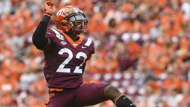 Defensive back Chamarri Conner #22 of the Virginia Tech Hokies celebrates his sack against the Furman Paladins in the first half at Lane Stadium on September 14, 2019 in Blacksburg, Virginia. (Photo by Michael Shroyer/Getty Images)