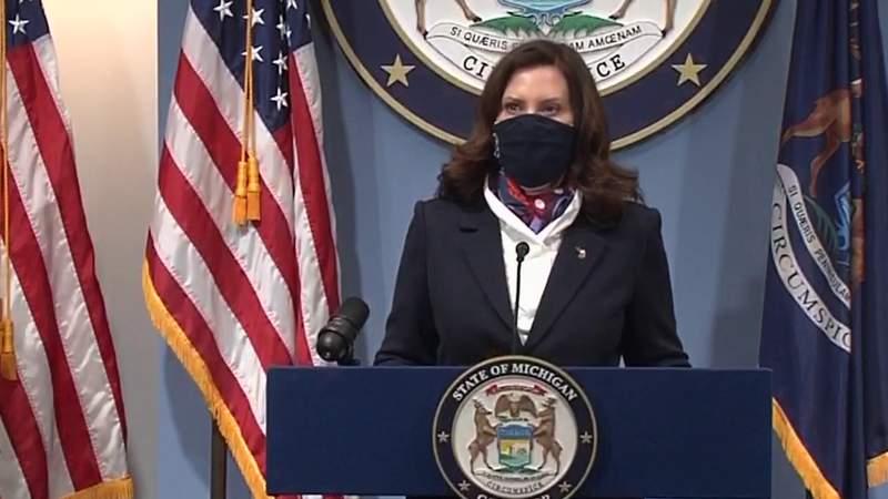 Michigan Gov. Gretchen Whitmer holds a COVID-19 briefing on Jan. 25, 2021