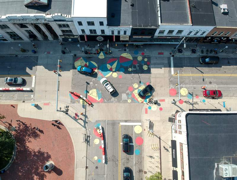 The Studio Kaleidoscape  installation can be found at the intersection of S. State Street and N. University Avenue. Photo courtesy of the Arts Alliance.