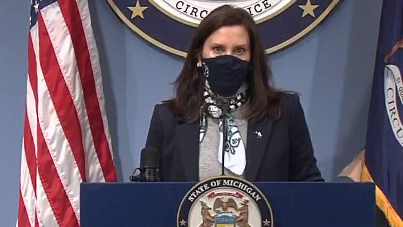Michigan Gov. Gretchen Whitmer at an April 14, 2021, COVID-19 briefing.