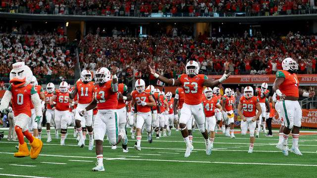 The Miami Hurricanes take the field against the LSU Tigers to start The AdvoCare Classic at AT&T Stadium on September 2, 2018 in Arlington, Texas. (Photo by Tom Pennington/Getty Images)