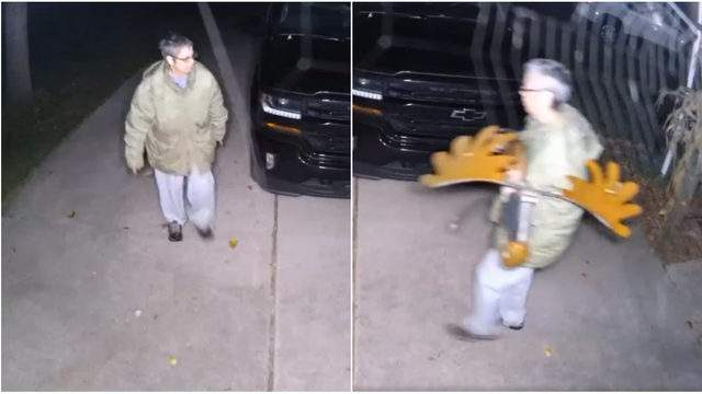A moose decoration thief in Livonia on Oct. 8, 2019. (WDIV)