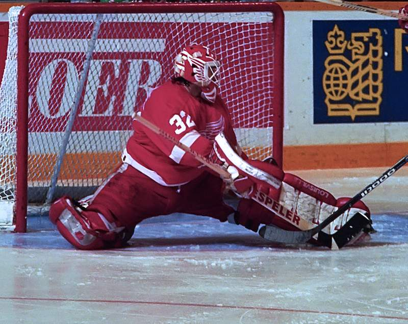 TORONTO, ON - FEBRUARY 15: Tim Cheveldae #32 of the Detroit Red Wings skates against the Toronto Maple Leafs during NHL game action on February 15, 1994 at Maple Leaf Gardens in Toronto, Ontario, Canada. (Photo by Graig Abel/Getty Images)