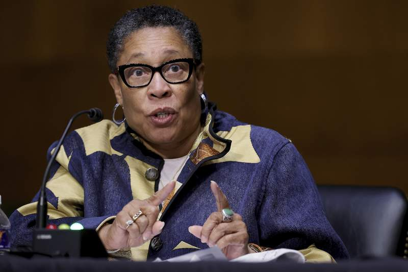 Housing and Urban Development Secretary Marcia Fudge testifies during a Senate Appropriations Committee hearing on Capitol Hill, Tuesday, April 20, 2021 in Washington. (Chip Somodevilla/Pool via AP)