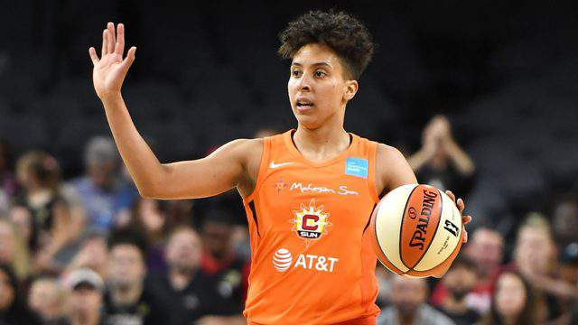 LAS VEGAS, NEVADA - JUNE 02: Layshia Clarendon #23 of the Connecticut Sun sets up a play against the Las Vegas Aces during their game at the Mandalay Bay Events Center on June 2, 2019 in Las Vegas, Nevada. The Sun defeated the Aces 80-74. (Photo by Ethan Miller/Getty Images )
