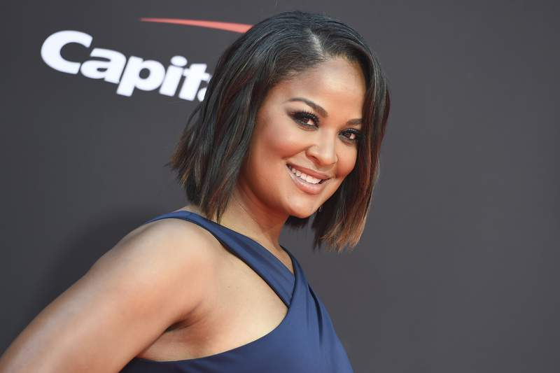 FILE - In this July 10, 2019, file photo, Laila Ali arrives at the ESPY Awards in Los Angeles. Ali will host the Womens Sports Foundation awards show featuring Candace Parker, Tom Brady and Carli Lloyd. (Photo by Jordan Strauss/Invision/AP, File)