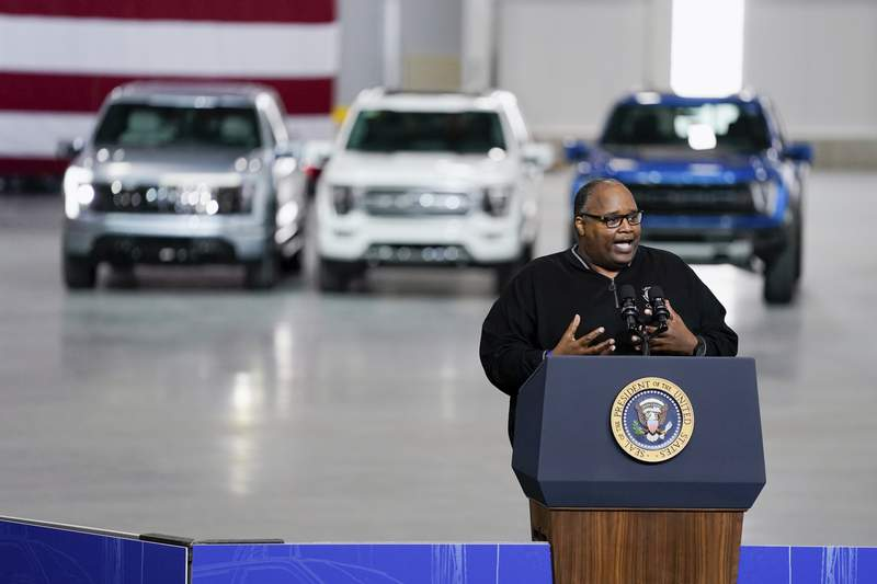 FILE - In this May 18, 2021 file photo, Rory Gamble, President of United Auto Workers, speaks at the Ford Rouge EV Center in Dearborn, Mich.  Gamble, who led the union through a corruption scandal and the coronavirus pandemic, is retiring effective June 30.   (AP Photo/Evan Vucci, File)