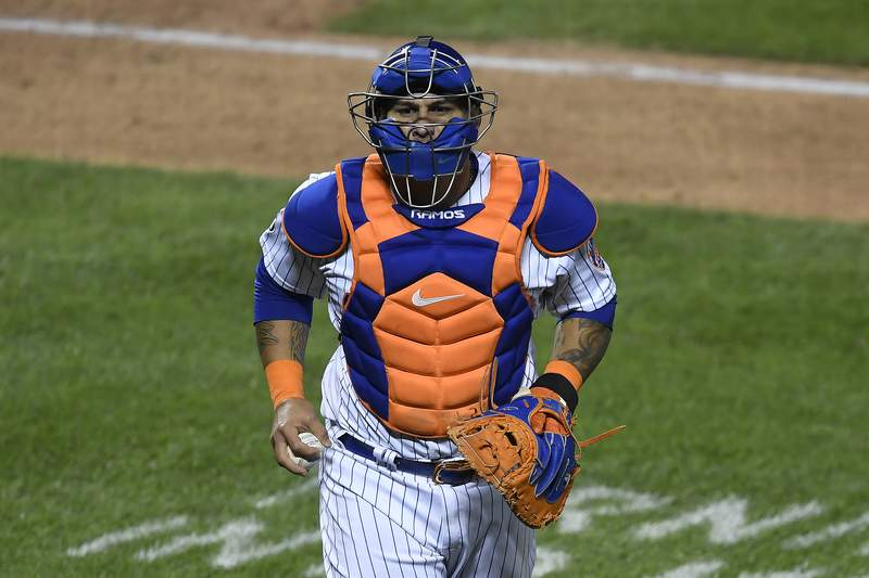 Wilson Ramos #40 of the New York Mets looks on during the eighth inning against the Atlanta Braves at Citi Field on September 18, 2020 in the Queens borough of New York City.