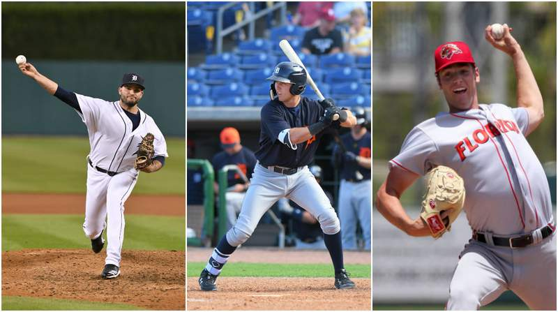 Tigers prospects Bryan Garcia (left), Kody Clemens (center) and Joey Wentz (right).