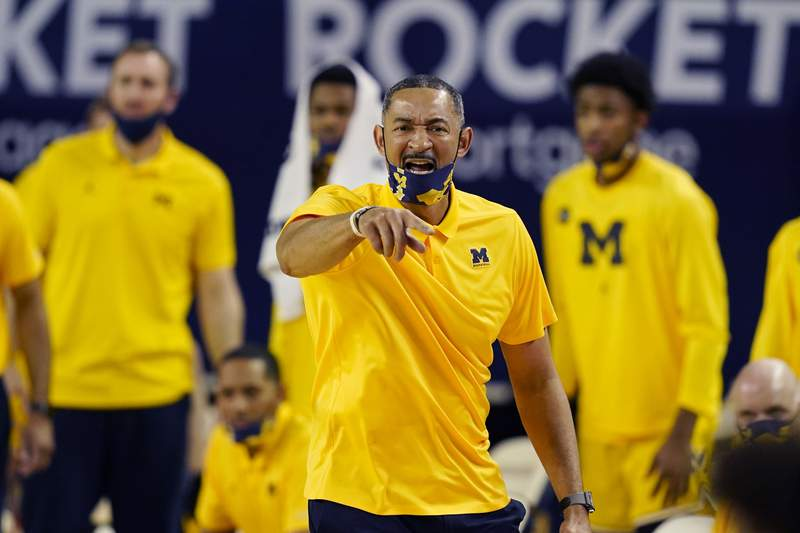 Michigan head coach Juwan Howard directs from the sideline during the second half of an NCAA college basketball game against Michigan State in Ann Arbor, Mich., on Thursday, March 4, 2021.