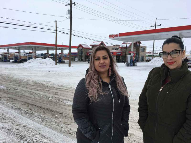"""This Jan. 23, 2019 photo released by ACLU of Montana, shows Martha """"Mimi"""" Hernandez, left, and Ana Suda in Havre, Mont. Hernandez and Suda, both U.S. citizens, have settled their lawsuit with the U.S. Customs and Border Patrol. They were detained by an agent who said he was questioning them because they were speaking Spanish while standing in line at a convenience store. The women left Montana due to the community backlash after making the accusation, the ACLU of Montana said. (Brooke Swaney/ACLU of Montana via AP)"""