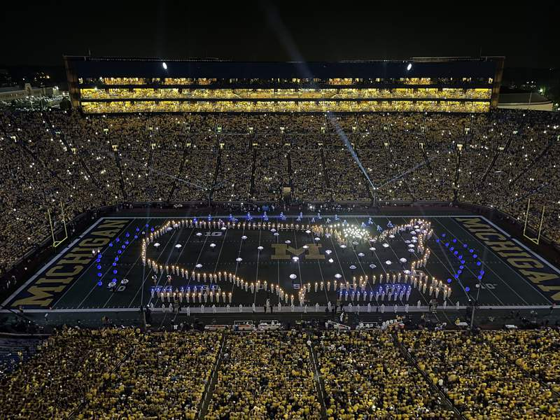Aerial view of the Michigan Marching Band's halftime show at Michigan Stadium in Ann Arbor on Sept. 11, 2021.